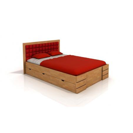 łóżko Bukowe Visby Gotland High Drawers Z Szufladami