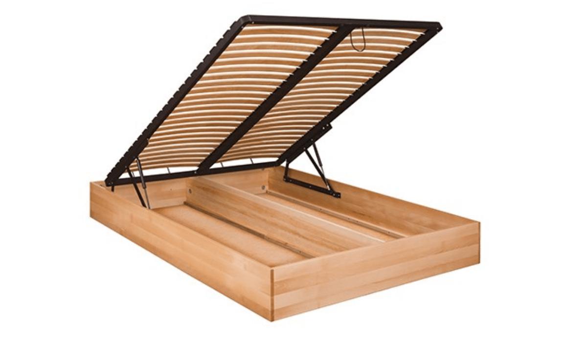 Łóżko z pojemnikiem olchowe Kadryl 2