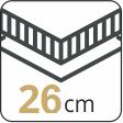 Ikona wysokości materaca 26 cm